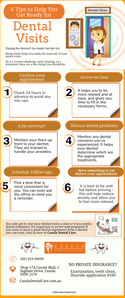 6 tips to help you get ready for dental visits in casula infographic