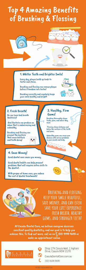 top 4 amazing benefits of brushing and flossing from casula dental care infographic